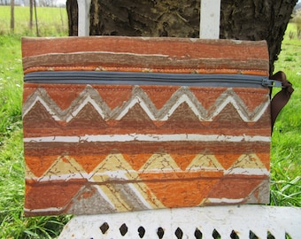 pouch bag, makeup pouch, fabric, ethnic, geometric, rust, orange, Brown, gray, yellow