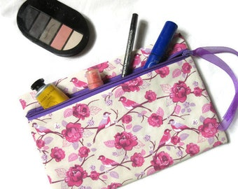 bag pouch, pouch for makeup, flowers, birds, Pink Purple