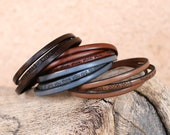 Personalized engraved leather bracelet customized with name or quote, boho gift wrap women men bracelet inspirational quote jewelry
