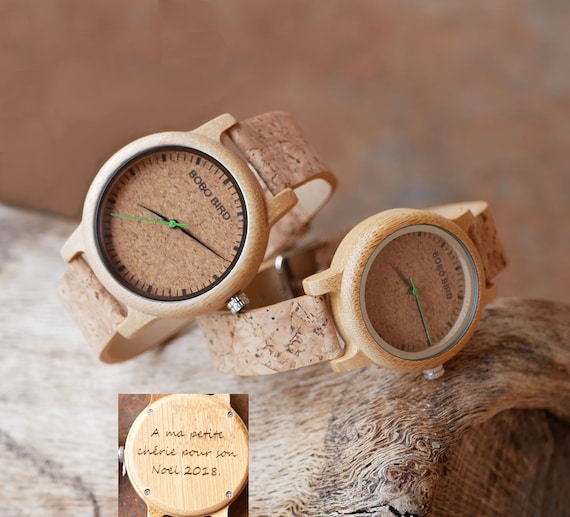 2f130a416 Engraved wood matching watches personalized couple gift with