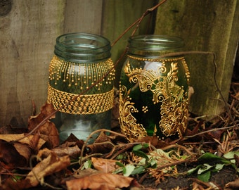 Bohemian Moroccan Mason Jars Tinted Lanterns Lighting Decorated With Henna Designs Party Decor Wedding Bridal Shower Party Event Centerpiece & Bohemian lighting   Etsy