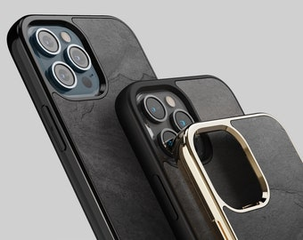 ROXXLYN Real Stone Black Impact Case made for iPhone 13 Pro, 13/ 12 Pro / 12 Pro Max & 11 / 11 Pro / 13 Pro Max