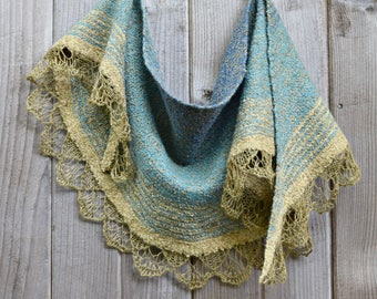 Turquoise and Gold Silk Lace and Wool Felted Shawl