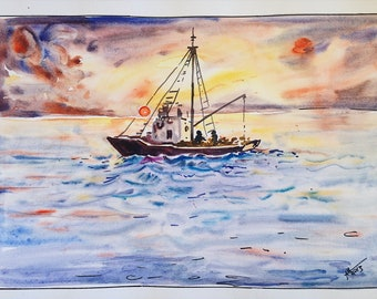Watercolor Handmade Sunset Ship Painting on Paper