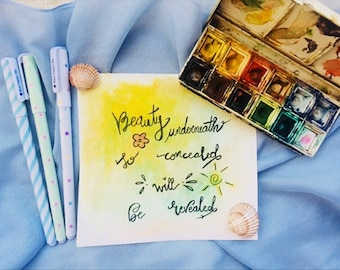 Creative Cute Quote Watercolor Cart Letter Note