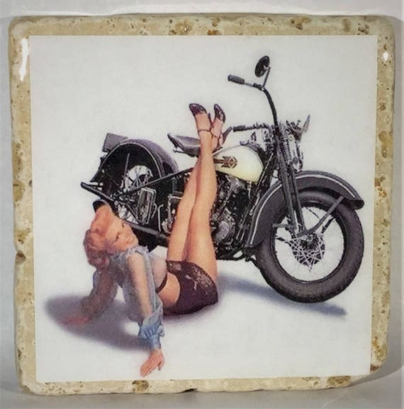 Motorcycle PinUp Coasters