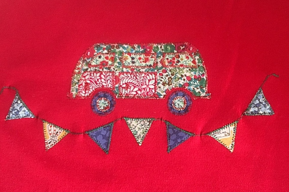 Children's red tshirt, cute t shirt, Liberty fabric appliqué ,...