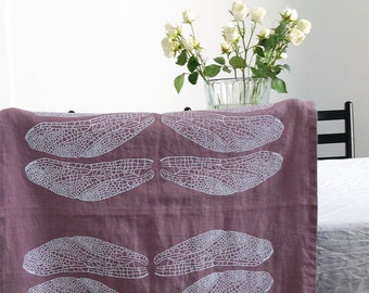 """Dragonfly print on a 18x59"""" linen table runner"""