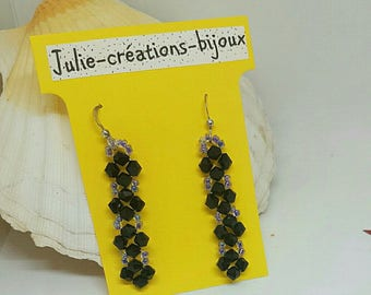 Earrings bicones and seed beads