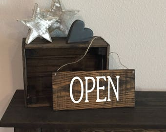 "Pallet Open/Closed Sign with Hanging Twine - 5.5""x12"" - Business Entry Rustic Decor Farmhouse Style Fixer Upper Wooden (Item - BUS100)"
