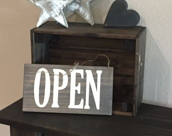 "Pallet Open/Closed Sign with Hanging Twine - 5.5""x10"" - Business Entry Rustic Decor Farmhouse Style Fixer Upper Wooden (Item - BUS100)"