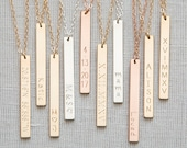14K Gold Sterling Bar Necklace,Vertical Bar Necklace,Custom Bar necklace,Bridemaid Gift,Coordinates Necklace,Personalized necklace,Nameplate