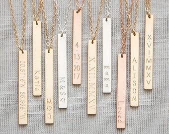 Bar Necklace,Vertical Bar Necklace,Custom Bar necklace,Bridemaid Gift, Coordinates Necklace,Personalized necklace,Nameplate Necklace