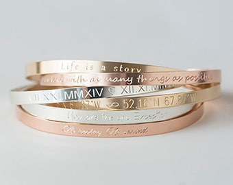 Cuff Bracelet,Gold,Rose,Silver Bracelet, Inspirational Bracelet, Engraved Bracelet,Personalized Bracelet,Monogram Bracelet