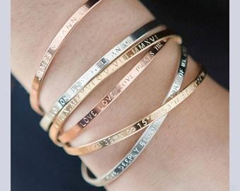 Skinny Cuff Bracelet,Gold, Rose, Silver, Inspirational Bracelet,Engraved Bracelet,Personalized Bracelet,Monogram Bracelet