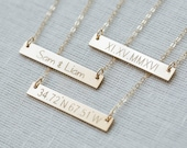14K Gold Bar Necklace,Bar Necklace,Personalized Bar Necklace,Custom Name Bar Necklace,Engraved Necklace,Name Bar Necklace,Monogram Necklace