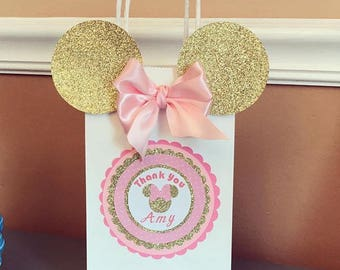 Pink And Gold Minnie Mouse Goody Bags Gift Birthday Party