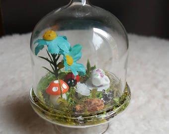 Mini Glass Dome Fairy Garden. Artificial Terrarium. Custom Gift idea. Party Favor.