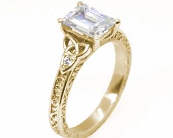 255 Sterling Silver 1.25ct Princess Cut Black Diamond-Unique Trinity Knot Ring