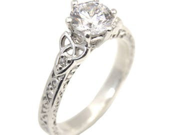 Trinity Knot 6 Claw 1ct Diamond Ring Sterling Silver Engagement Ring (286)