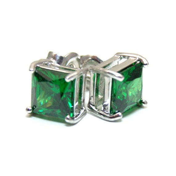 bb40d3acfbdf0 Solitaire Stud Emerald Earrings Sterling Silver 2.5ct Princess Cut  Diamond-Unique