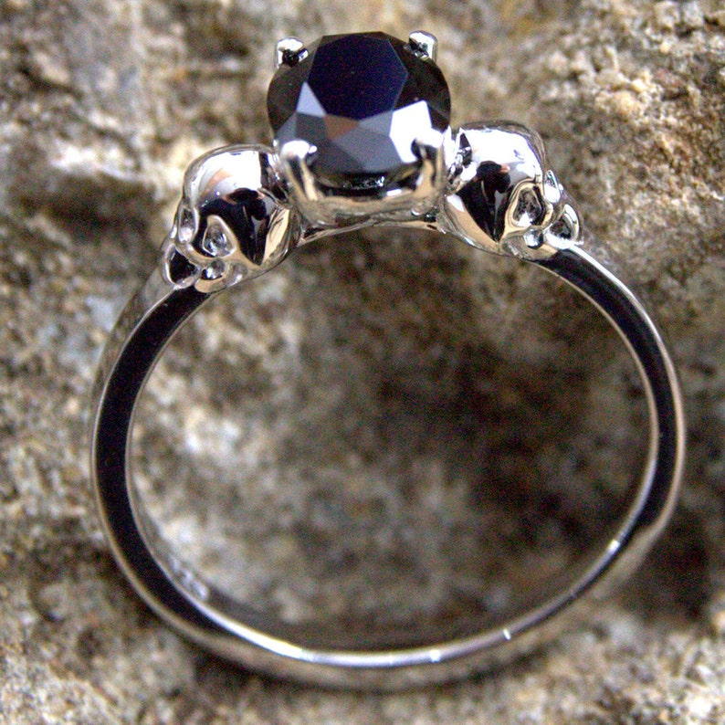 Skull Ring Sterling Silver 1.4ct Diamond-Unique Oval Cut Black Diamond Hand Crafted Engagement Ring