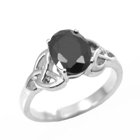 Trinity Knot Ring Oval Black Diamond 4 Claw Sterling Silver
