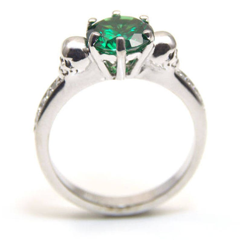 Skull Ring Sterling Silver 2ct Round Cut Emerald Diamond-Unique  Hand Crafted Ring with Accents 266