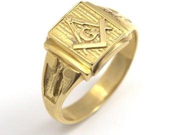 9ct Yellow Gold Masonic Freemason Ring Hand Crafted Over 6g