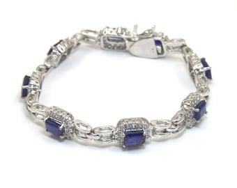 8.5ct Sapphire & White Topaz Bracelet Sterling Silver (SA2)