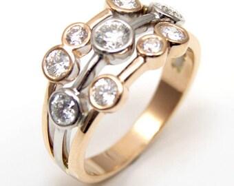 Raindance Ring 1.11ct Diamond-Unique Scatter Ring 9ct Rose & White Gold
