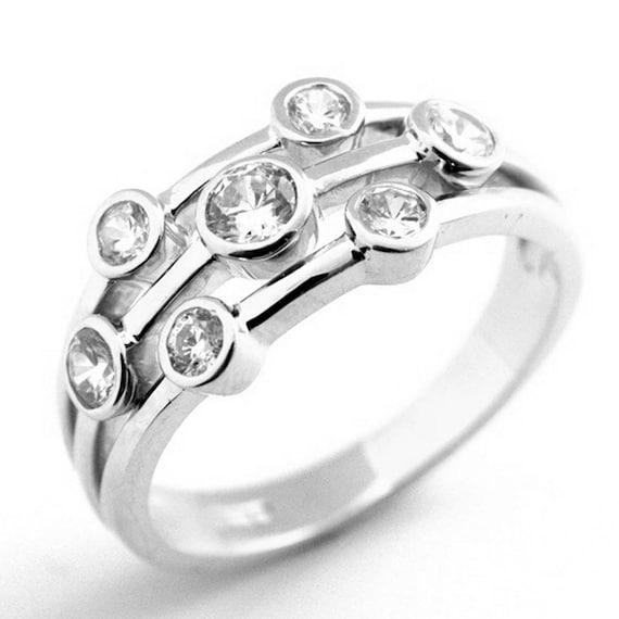 Raindrop Ring Diamond-Unique 1//2ct Scatter Ring Silver Rhodium Platinum