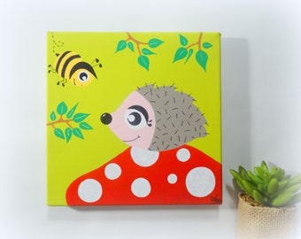 Hedgehog painting, child painting, Forest animals painting, Children's room painting, Child painting painting, Baby room painting