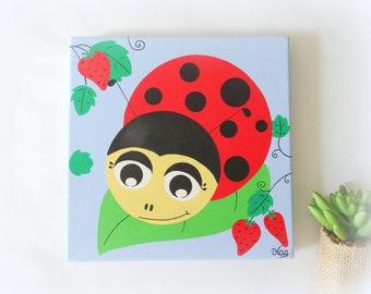 Ladybug board, Baby painting, child painting, ladybug canvas, children's room painting, decoration forest animals