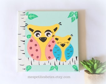 Painting owls baby room, decoration owl baby, painting child, painting owl child, painting owl baby girl, art baby