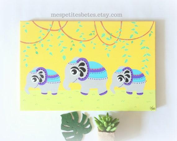 Tableau éléphants, décoration éléphants chambre bébé, tableau elephant,  déco elephant pour enfant, déco jungle bébé, tableau jungle bébé