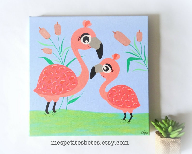 Tableau Flamant Rose Deco Bebe Flamant Rose Illustration Etsy