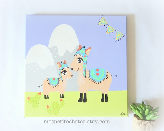 Tableau Lama, Tableau chambre enfant, Décoration lama chambre bébé,  Illustration lama, Cadre lama chambre bébé, Tableau peinture bébé
