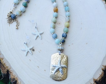 Starfish charm multi beaded necklace and starfish earring set