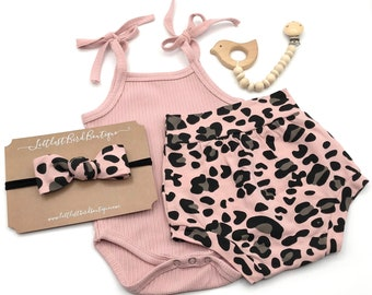 Pink Ribbed Tank Bodysuit | Pink Leopard Bummie | Diaper Cover | High Waisted Short | Baby Girl Summer Clothing