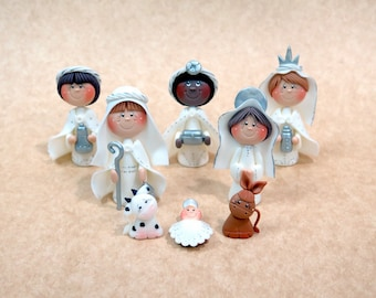 8 Piece White Nativity Set - Polymer Clay Nativity Set - Christmas Decoration - Collectible Nativity Set - Ornaments and Figurines Handmade