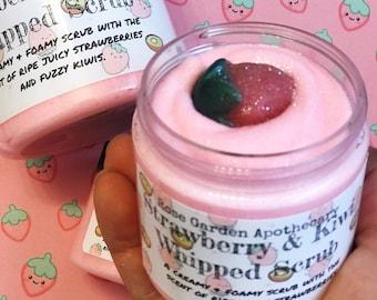 Strawberry & Kiwi Whipped Sugar Scrub>Foamy and Creamy Body Scrub>Mini Strawberry Soap>Kawaii Soap>Kawaii Gifts>Spring Gift>Mothers Day Gift