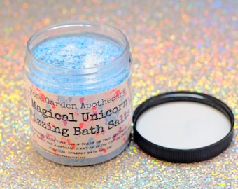 Magical Unicorn Fizzing Bath Salts with Coconut Oil> Cotton Candy Scented>Unicorn Dust>Foaming bath salts>Magical Bath Salts>Unicorn Party