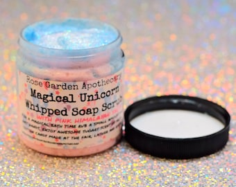Magical unicorn whipped soap scrub w/ Pink Himalayan salt & organic sugar>detoxifying salt scrub>cotton candy scented soap scrub>detox scrub