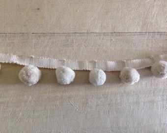 Cream Pom Pom Trim 100% cotton