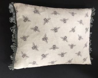 A 30x 40cm pillow cover cushion case sham slip pillow case,  grey bees, grey striped back, grey fan edge trim
