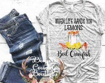 88556a680 Crawfish shirt, crawfish boil, shirt, sublimation, new Orleans, cajun, when  life gives you lemons, cajun life, women's shirt, crawfish,bayou
