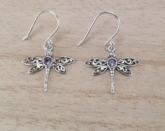 Sterling Silver Dragonfly earrings with semi precious stones, Dangle Dragonfly earrings, Drop Dragonfly earrings