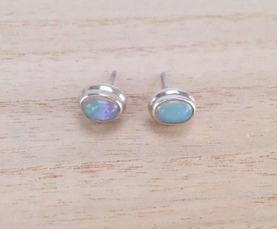 9368f92ebd1ad Opal stud silver earrings, Oval stud sterling silver opal earrings, Real  opal Earrings, Gift for her, Ethiopian opal studs earrings