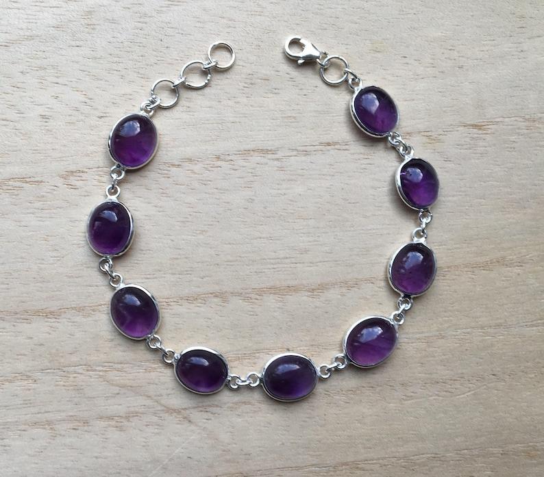 Chain amethyst bracelet Amethyst bracelet Amethyst sterling silver bracelet February birthstone